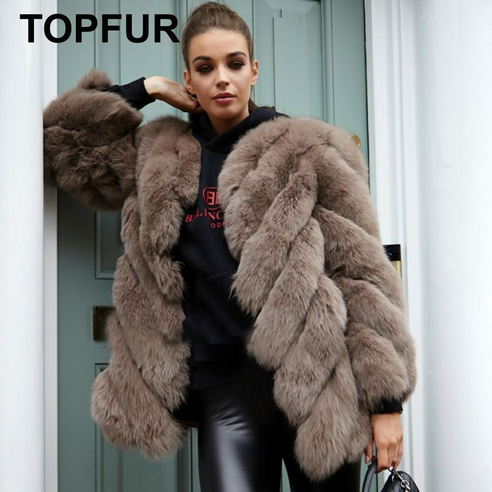 TOPFUR 2019 Fashion Brown Coat Women Real Fur Coat Women Natural Bule Fox Fur Coat Nine Quarter Sleeves Brown Fur Jacket Women