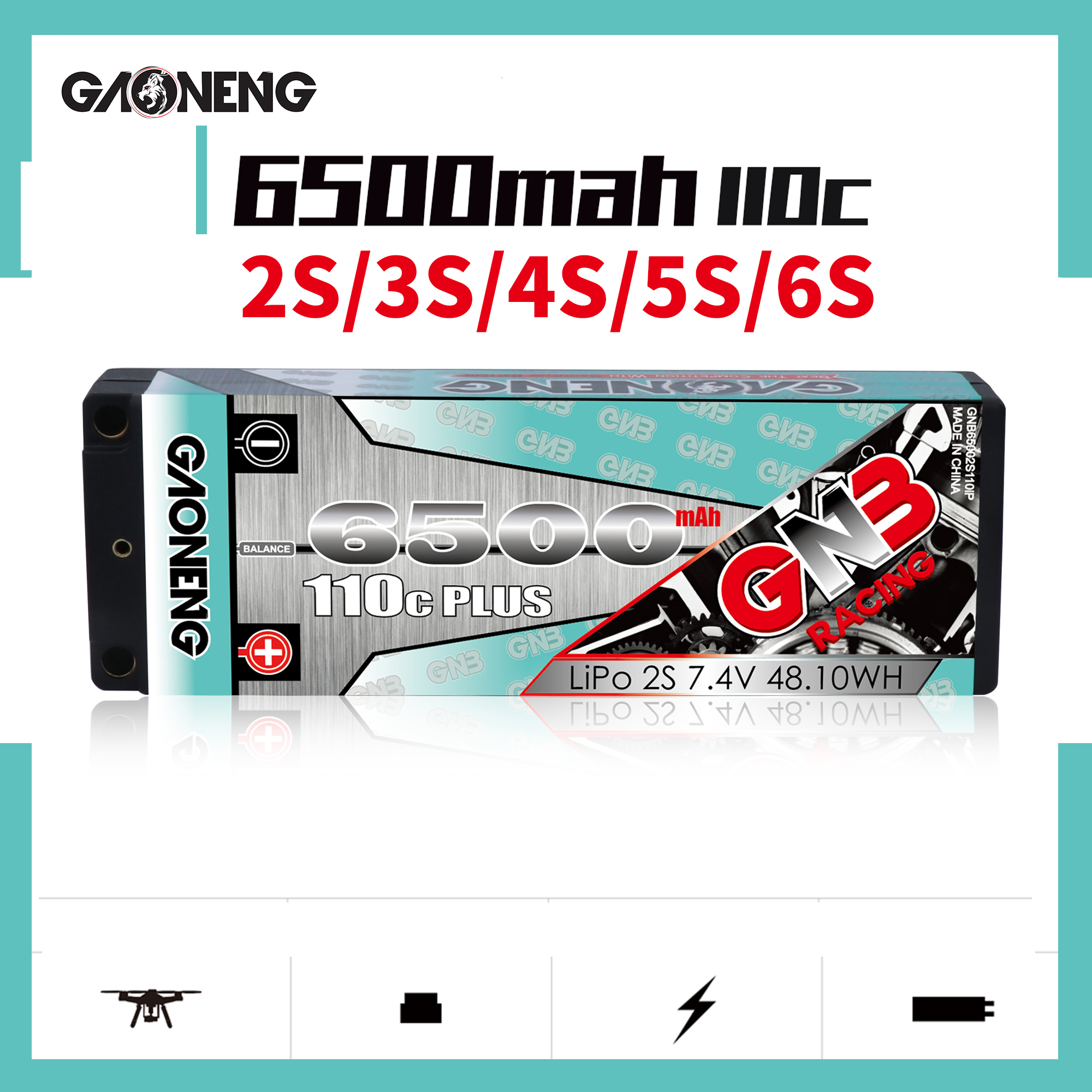 Gaoneng GNB 6500MAH 110C Plus RC1:10 Outgoing Cable 2P 2S 3S 4S 5S 6S FPV Battery 7.4V-22.2V Hard Shell Off-road Car Batteries