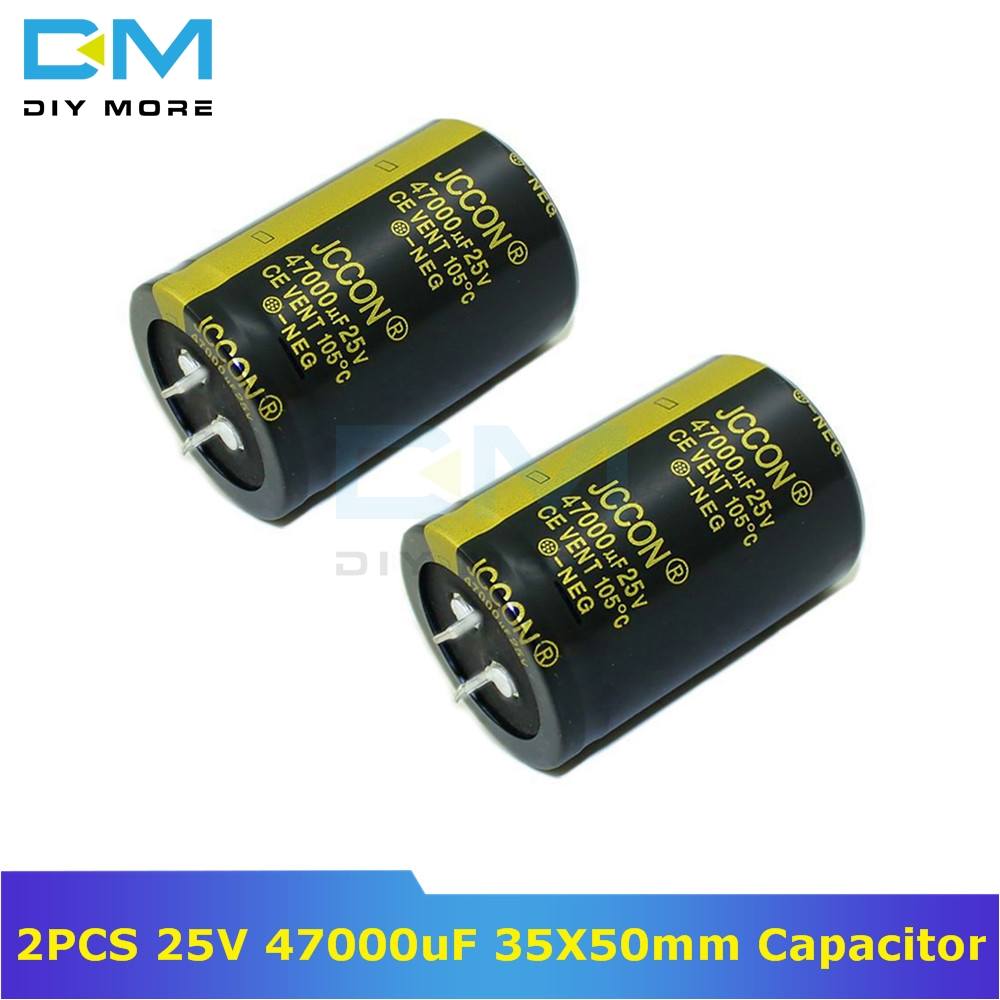 2PCS 25V 47000uF 35X50mm Aluminum Electrolytic Capacitor High Frequency Low Impedance Through Hole Capacitor 35*50mm Size