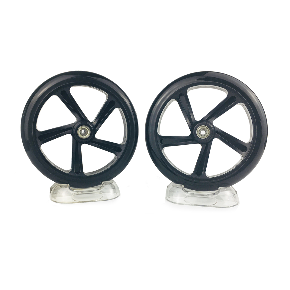 Kick Scooter Wheel With Bearings PU 2 pieces/lot 200mm Diameter 40mm Thickness Hub High Elasticity Precision speed skating