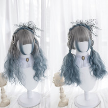 Gradient Blue Lolita Wig Harajuku Cosplay Bangs Temples Curly Long Sweet Fringe Synthetic Hair for Adult Girls(China)