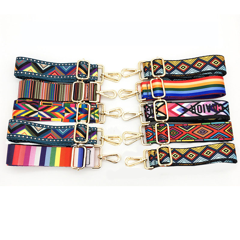1 Pcs Nylon Colored Belt Bags Strap Accessories For Women Rainbow Adjustable Shoulder Hanger Handbag Straps Decorative
