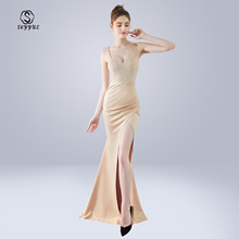 Skyyue Evening Dress Sling Sleeveless Robe De Soiree Backless Women Party Dresses 2019 Wrapped Chest Crystal Formal Gowns C290