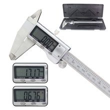 Micrômetro digital eletrônico, aço inoxidável, vernier, medidor de calibre, 150mm, 200mm, 6 polegadas, display lcd, régua de metal, caixa de plástico