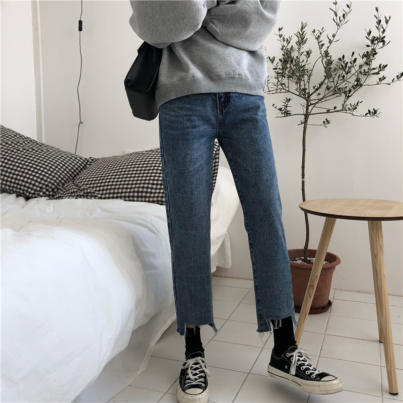 Spring Clothing WOMEN'S Dress Korean-style Loose-Fit Washing High-waisted Versatile Trousers Gap Capri Pants Jeans Straight-leg