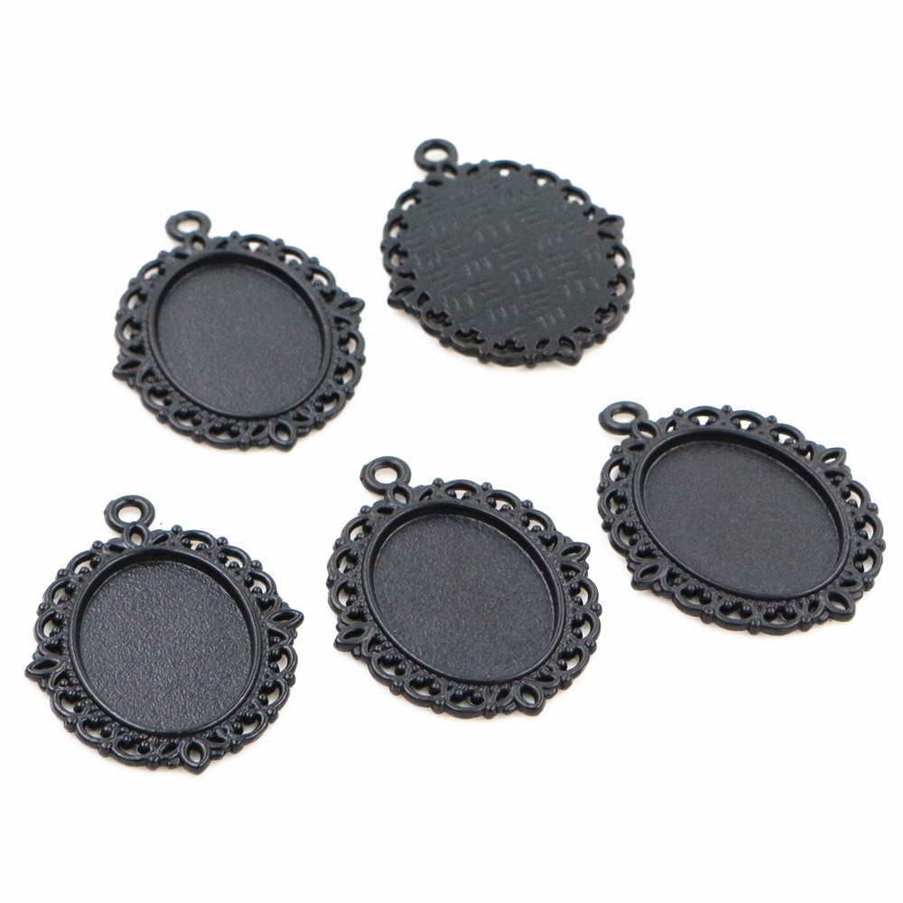 10pcs 13x18mm Inner Size Black Simple Style Cameo Cabochon Base Setting Charms Pendant Necklace Findings  (D2-73)