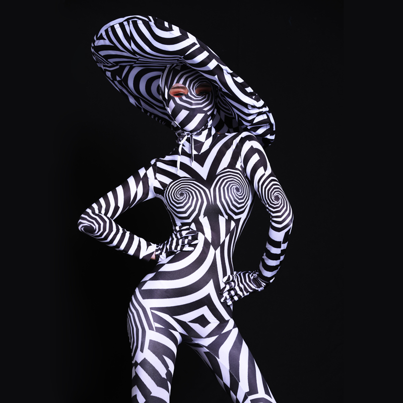 Europe Female Party Stage Show Black White Striped Zebra Jumpsuit Performance Outfits Sexy Ladies Bar Nightclub Rompers Costume
