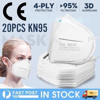 20PCS Disposable Mask Half Face Non-woven Mouth Face Mask 95% Filtraion Cotton Anti-Dust 4-layer Filtration Against Droplet