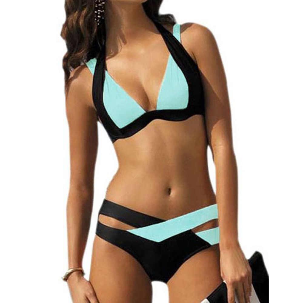 2019 קיץ חוף טלאים סקסי סגנון בגד ים נשים סקסי פיצול ביקיני שתי חתיכה סט בתוספת גודל בגדי ים נשים 4xl רחצה חליפה