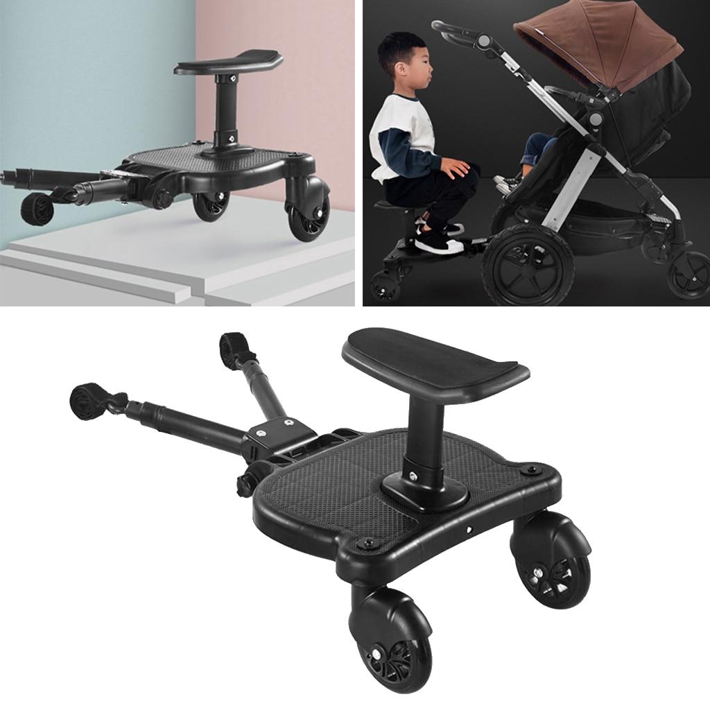 Universal Mount Ride-On Stroller Board Toddler Bump-Free Anti-Slip Buggy Stand, Black