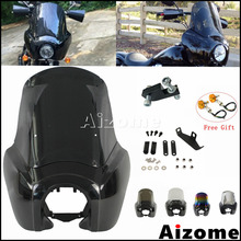 """Motorcycle 15"""" Iridium Windshield Front Headlight Fairing For Harley  Cafe Racer Dyna Street Fat Bob Low Rider FXR FXD 2007 2017"""