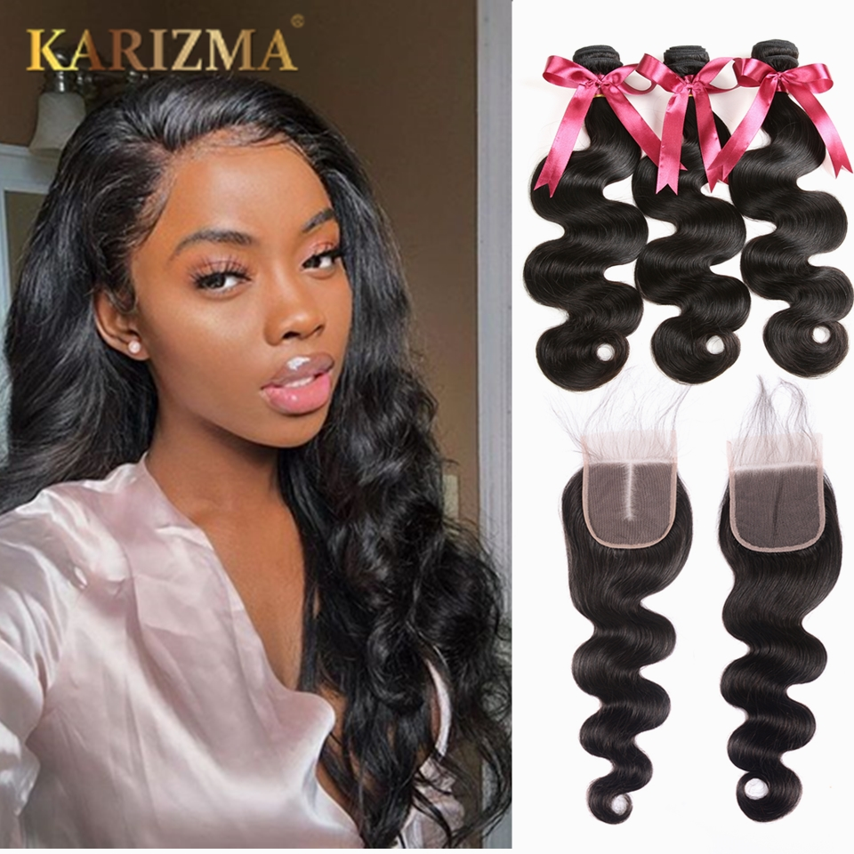 8-38inch Karizma Body Wave 3 Bundles With Closure Brazilian Hair Weave Bundles Human Hair Bundles With Closure Non Remy Hair