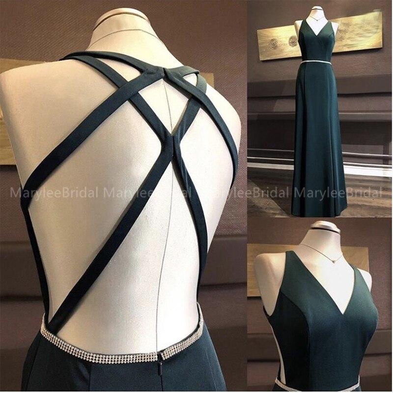 2020 Simple Dark Green Evening Dresses Long Vestidos De Festa Longo V-neck Crisscross Back Robe De Soiree Formal Party Gowns