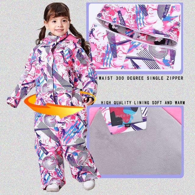 -30 Degree Children Ski Jumpsuit 2020 Winter Snowboard Jacket Boys and Girls Outdoor Snow Suits Warm Waterproof Kids Ski Jacket 10