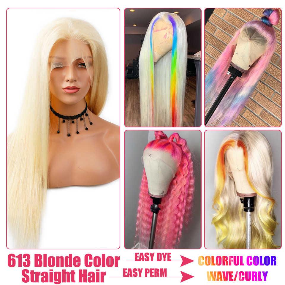 Brazylijska peruka typu Lace 4*4 prosto zamknięcie koronki peruka 150% 26 cal Remy włosów ludzkich peruk 613 blond koronkowa peruka wstępnie oskubane z dzieckiem włosy