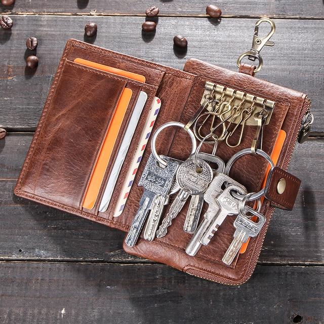 Винтажные кошельки для ключей Contacts, кошелек из натуральной кожи, мужской держатель для автомобильных ключей, дизайнерский Кошелек для монет на застежке, органайзер для ключей на молнии