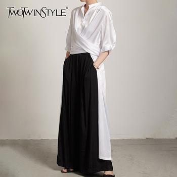 TWOTWINSTYLE minimalistyczny luźna sukienka dla kobiet stanąć kołnierz z krótkim rękawem Casual białe sukienki kobieta moda nowa odzież 2021 tanie i dobre opinie CN (pochodzenie) Na wiosnę jesień COTTON POLIESTER Proste Dla osób w wieku 18-35 lat GDR20329T03 STAND Pełne REGULAR