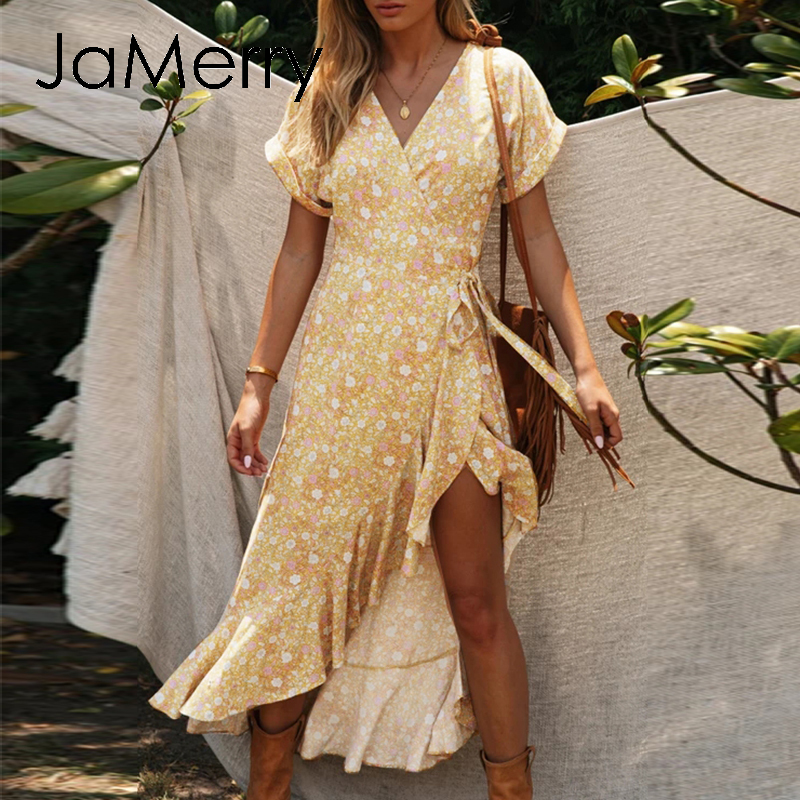 JaMerry Elegant Floral Print Women Dress Sexy Ruffled High Waist Summer Dress Boho Holiday Bodycon V-neck Beach Dress Vestidos