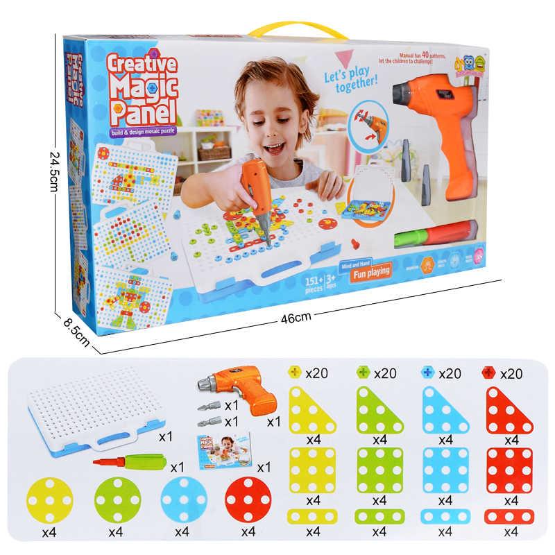 Creative Kids Elektrische Boor Speelgoed Gemonteerd Match Tool Diy Model Kit Building Educatief Blokken Sets Speelgoed Voor Jongens Kinderen Gift