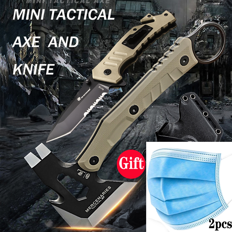 King Sea Outdoor Tactical Axe and Folding Knife Set Camping Axe and Hunting Knife Multifunctional Hatchet and Pocket Knife Set|Axe| |  - title=