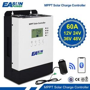 MPPT Солнечный контроллер 60A 12В/24В/36В/48В зарядное устройство макс. 150VDC PV вход 3200 Вт подсветка Bluetooth ЖК Солнечный регулятор RS485 IP32