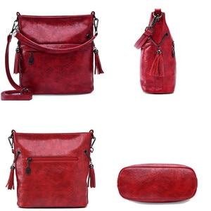 Image 5 - Soft Retro Tote Oil Leather Bucket Sac Luxury Handbags Women Bags Designer Ladies Shoulder Crossbody Hand Bags for Women 2020