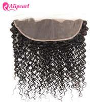 Pelo AliPearl rizado brasileño, encaje Frontal con pelo de bebé, pieza libre, cabello humano, Color 1b, Remy, envío gratis