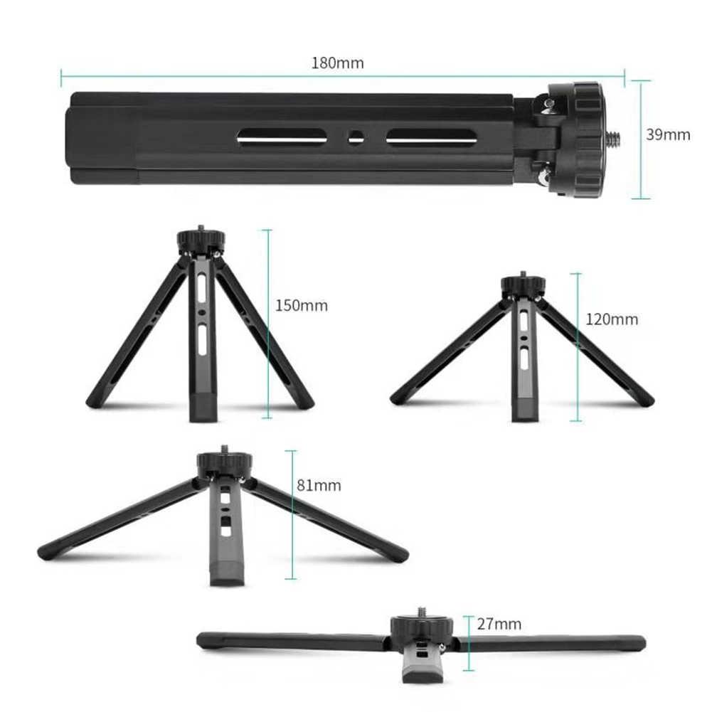 Mini Aluminium Alloy Tripod Portable Desktop Tabletop Tripod dengan 1/4 Sekrup untuk Gimbal untuk DSLR Kamera Webcam