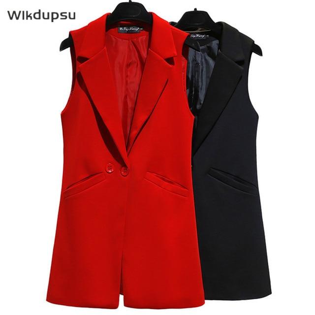 Vest For Women Sleeveless Jacket Coat Long Vest Blazer Formal Work Ladies Office Vintage Slim Suit Waistcoat Female Plus Size 1