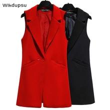 Vest For Women Sleeveless Jacket Coat Long Vest Blazer Formal Work Ladies Office Vintage Slim Suit Waistcoat Female Plus Size