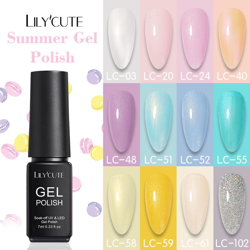 LILYCUTE 7ml Summer Color Gel Nail Polish Glitter Shining Semi Permanent Long Lasting Soak Off UV Gel Varnish Nail Art Design