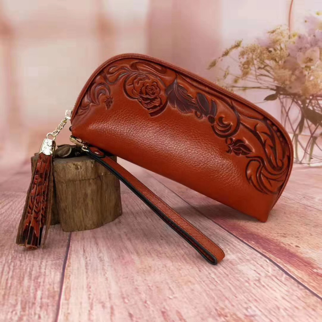Cow Print Clutch Wallet Women's Tote Bag, Women's Zip Clutch Wallet, Mobile Wallet, Leather Floral Women's Wallet Sac Bolsas Bag