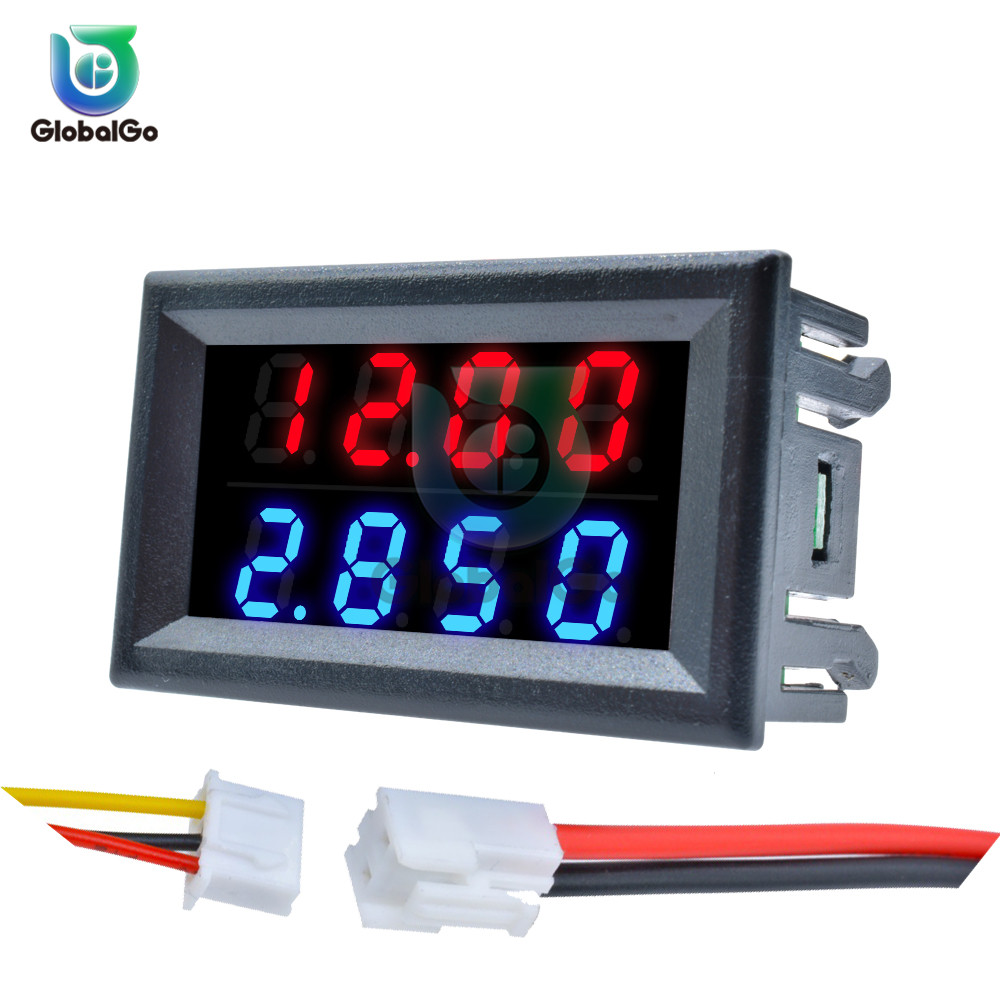 Dual LED Display Mini Digital Voltmeter Ammeter DC 100V 200V 10A Panel Amp Volt Voltage Current Meter Tester Detector 4 Bits