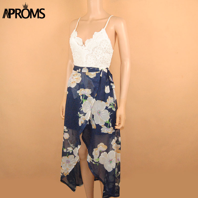 Aproms Women Summer Dresses Sexy V-Neck White Lace Patchwork Floral Party Dress  Sundresses Long Chiffon Beach Dress 2020 3