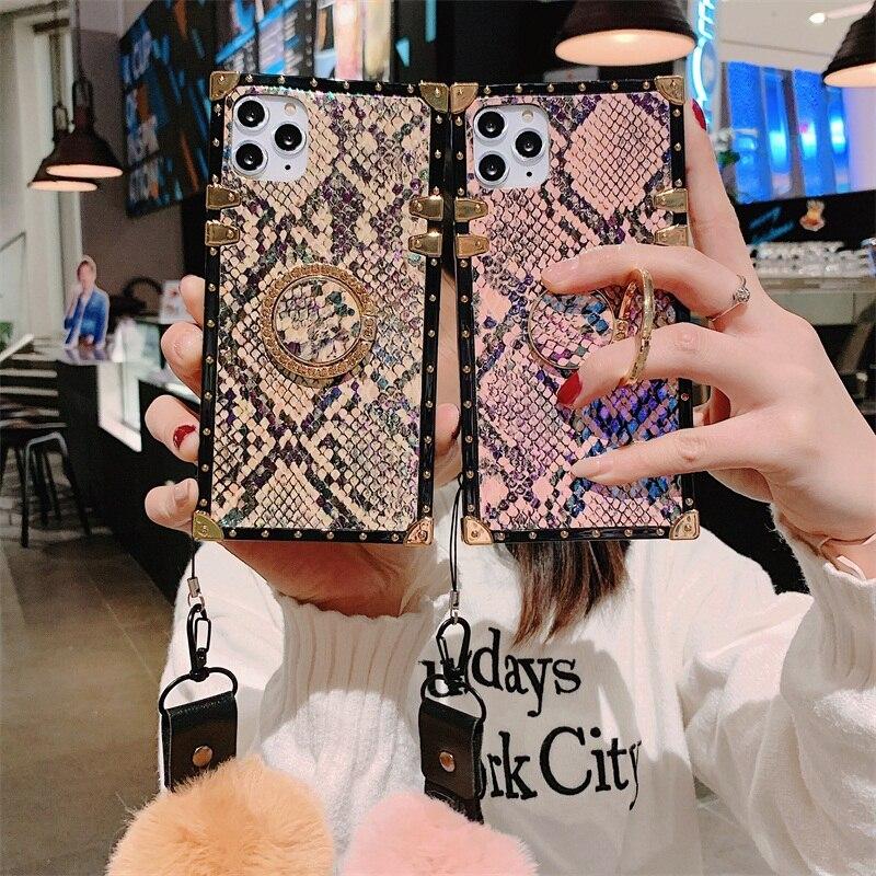 Lüks yılan derisi tasarım kare silikon telefon kılıfı için Samsung S10 S20Ultra NOTE20 10 A71 A51 saç topu ile braketi arka kapak