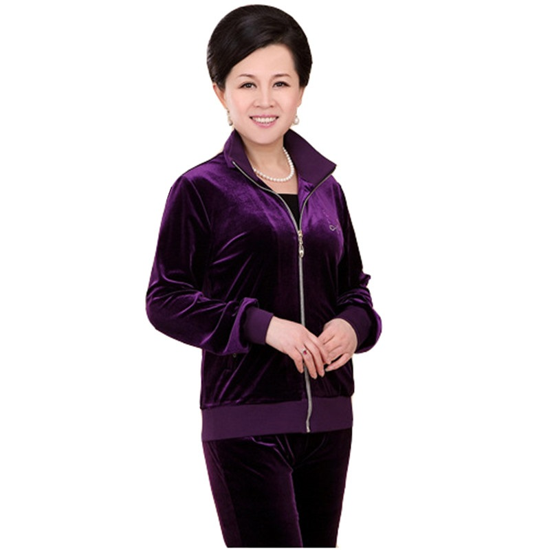 NEW Velvet Tracksuits Women Spring Autumn New Middle-aged Mother Costumes Long Sleeves Coat +Trousers Two Pieces Velvet Suit 173