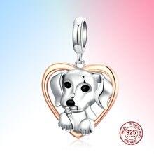 Очаровательное животное собака Платиновое Покрытие 925 пробы