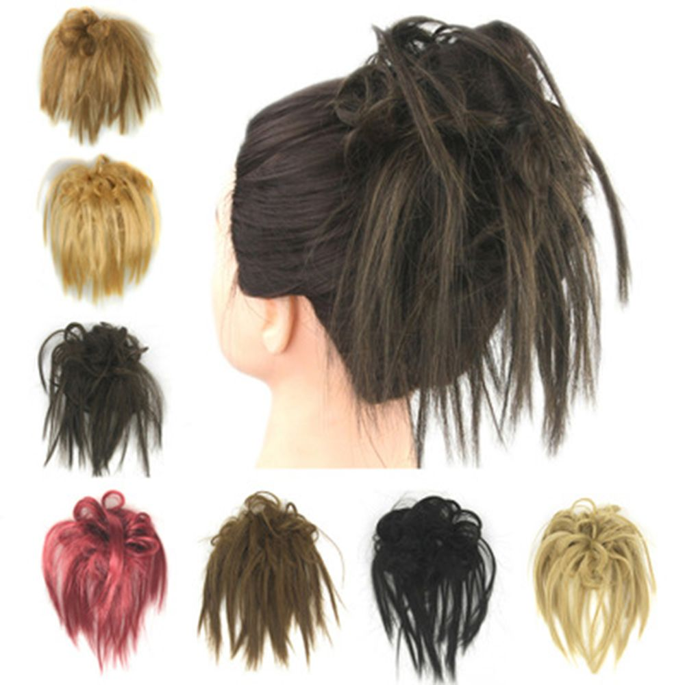 New Women Curly Messy Bun Scrunchie Hair Piece Hair Scrunchie Fake Natural Look Extensions Hairpiece Wig Styling Tools