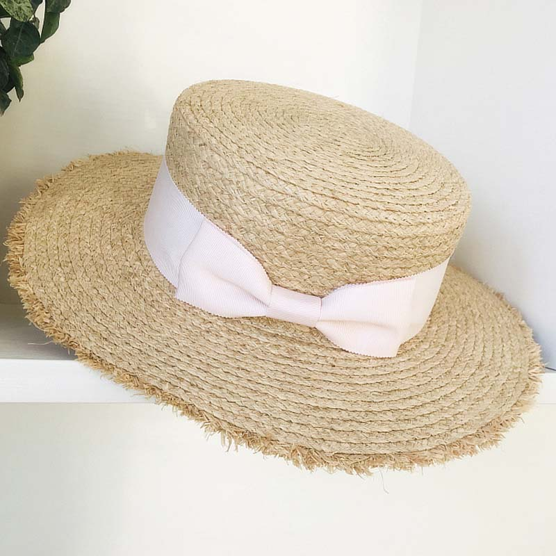 Fashion Breathable Wide Brim Raffia Straw Hat Flat Boater Beach Sun Hat Ribbon Bow Women Lady Summer Hat Dropshipping Wholesale