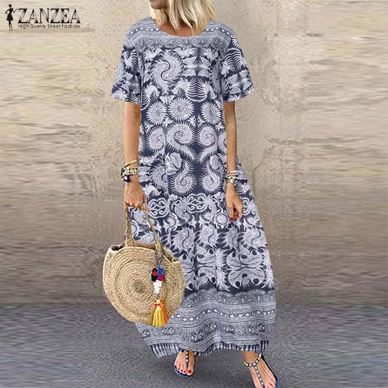 Bohemian Women Summer Dress Party Beach Sundress ZANZEA Ladies Casual Pockets Short Sleeve Maxi Vestidos Female Vintage Dress