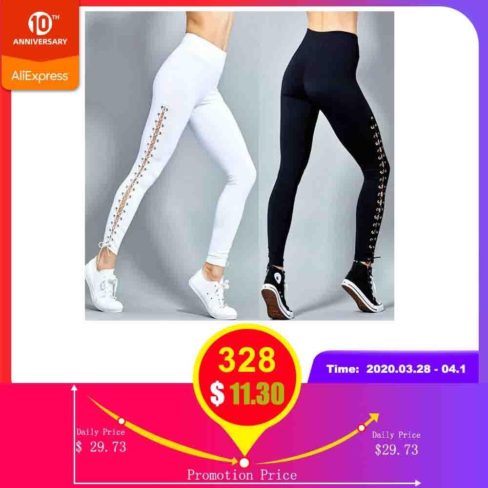 Rosegal Plus Size Lace Up Grommet   Leggings   2019 Skinny Leggins Women Pencil Pants Trouser Black White   Leggings   2019 Big Size 5XL