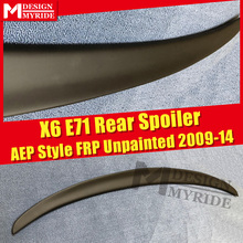 E71 Spoiler Rear Lip Wings FRP Unpainted P Style Black For BMW X Series X6 Auto Trunk Spoilers Tail Stem 2009-14
