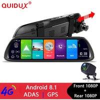 QUIDUX 4G ADAS Car DVR Camera 10Android 8.1 Stream Media Rear View Mirror FHD 1080P WiFi GPS Dash Cam Registrar Video Recorder