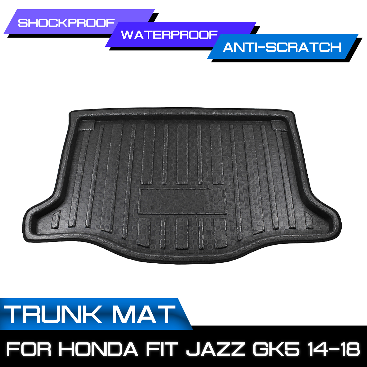 Car Floor Mat Carpet Rear Trunk Anti-mud Cover For <font><b>Honda</b></font> <font><b>FIT</b></font> JAZZ GK5 2014 <font><b>2015</b></font> <font><b>2016</b></font> 2017 2018 image