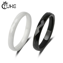 3MM Black White Ceramic Rings Smooth Cut Surface Healthy Jewelry For Women Men Simple Design Fashion Ring Gifts