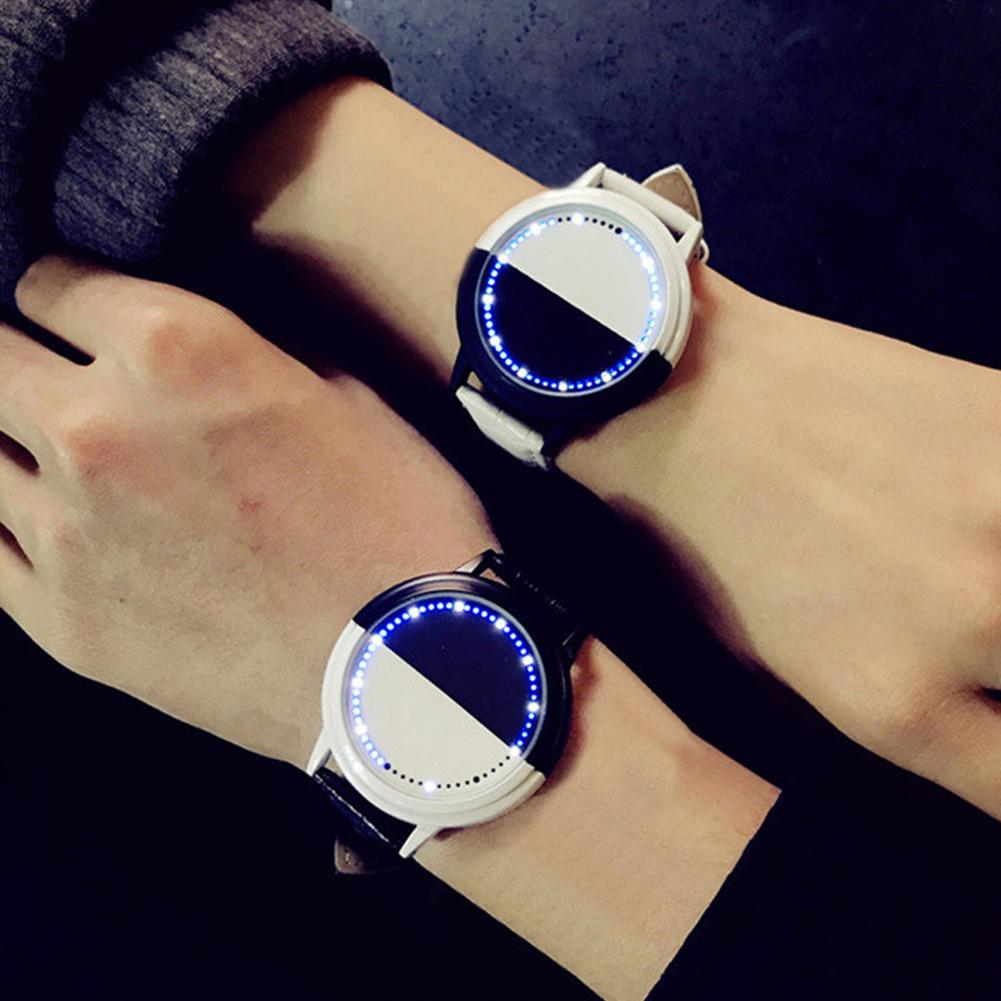 Fashion Couple Watch Touched Screen LED Watch Digital Display Clock Faux Leather Strap Wrist Watch Couple Gifts