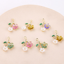 6pcs Color Flower Earrings Female Simple Earrings For Women Fairy Style Green Leaves Bouquet Alloy Pendant Accessories Materials
