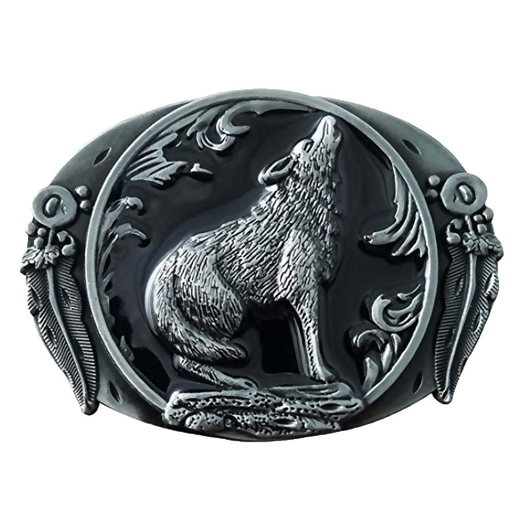 Vintage Howling  Animal Western Metal Belt Buckle For Men Leather Belt Fashion Western Cowboy Decorations