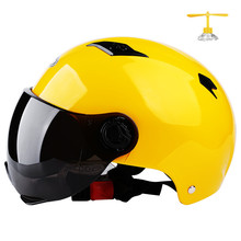 Motorcycle Open Face Half Helmet Electric Bicycle Riding Helmet Unisex Breathable Sunscreen Summer Helmets with gift yellow цена