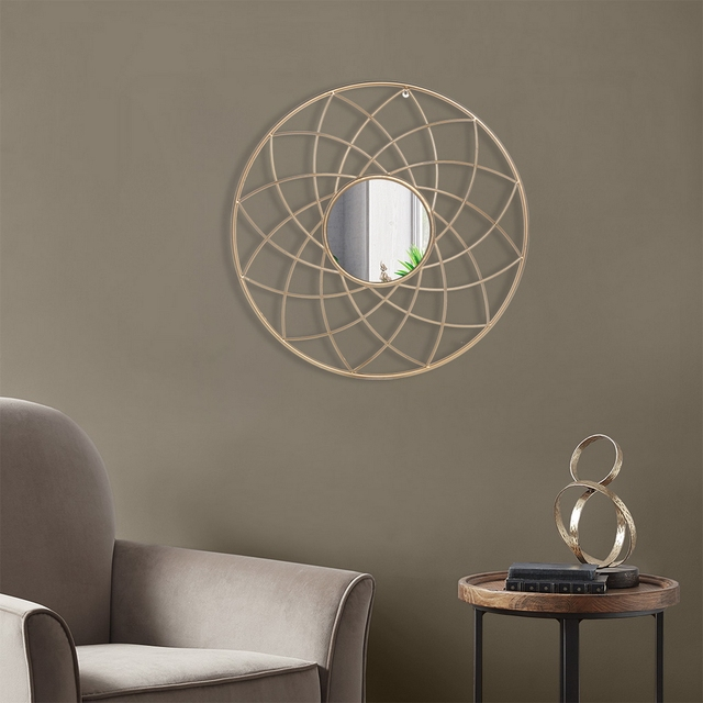 Artisasset Iron Wall Mirror High-Quality Flat Decorative Mirror for Bathroom Vanity Living Room Mantle or Entryway Golden[US-W] 6